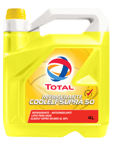 Refrigerante COOLELF SUPRA 50 4L  Aporta unaóptima performance refrigerante y anticorrosivagracias a su paquete de inhibidores orgánicos.  Es color amarillo fluorescente. Recomendado para vehículos Renault, Peugeot, Citroën, Mitsubishi, Nissan, entre otros.